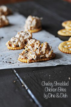 Cheesy Shredded Chicken Bites - a great little bite size appetizer from Kristen @DineandDish