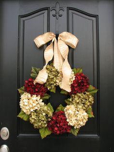 Holiday Wreaths, Christmas Wreath, Christmas Hydrangeas