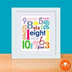 "Jumbled Numbers Art Print - ""Custom"" - 8 x 10 Poster $30 Etsy"