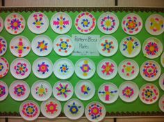 pattern block activities, bulletin board, pattern blocks, paper plates