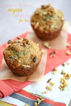 Banana Walnut Vegan Muffins for Two - chocolate & carrots