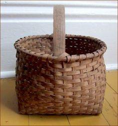 1920's white oak gathering basket   ****
