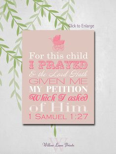 Baby Girl Nursery Art for this child I prayed by WillowLanePrints, $12.00