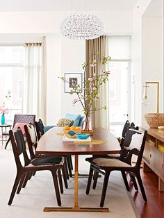 We love these faux-cowhide dining room chairs! (Interior design, home decor, fun, creative, ideas, inspiration, amazing, different, interesting, style, wooden table, pastels, soft colours)
