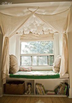 Beautiful window seat in a child's room. #kids #decor