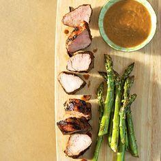 Grilled Pork Tenderloin & Asparagus with Peanut Dipping Sauce