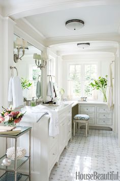 His-and-hers: By adding a pass-through shower, they combined two rooms into one, but personalized each side.