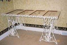old sewing machine bases as the base for door table