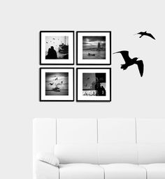 Wall decor   4 Photo set  6''x6'' inch Black and white by gonulk #photography #homedecor #walldecor