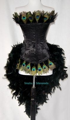Peacock feather custom made burlesque costume