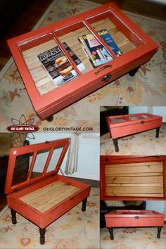 repurposed window into a coffee table