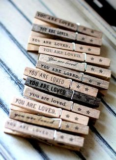 fun to attach to a gift package ..stamped clothespin {alphabet rubber stamps...ink pad}