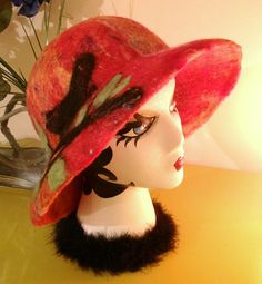 Wet and needle felted red and orange cloche by MountainHoneyrags, $75.00
