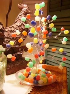 gumdrop tree...this was one of our favorite Christmas decorations and the five of us took turns putting the gumdrops on. cpc