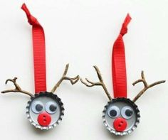 Ornaments for tiny hand to craft! Made of #recycled bottle caps & buttons