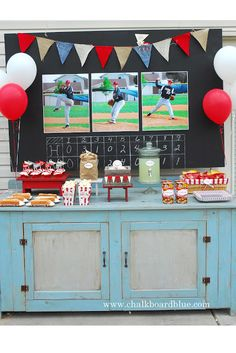 Baseball Party chalkboard walls, basebal parti, grad parties, parti idea, baseball birthday, birthday ideas