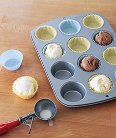 Scoop ice cream into baking cups before the party and put in the freezer.  When cake is served bring out the pre-made scoops. love this idea for the kids birthdays.