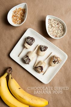 Chocolate Dipped Banana Pops /