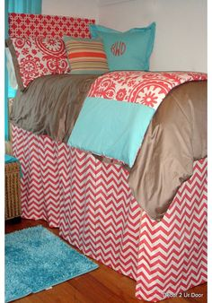 Extended length bed skirts- pick ur own fabrics for 100's of choices . Perfect for dorm under bed storage stylishly! Design Ur Bed Skirt |