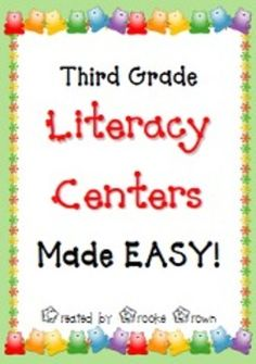 Everything you need to incorporate engaging third grade literacy centers in your classroom with minimal prep! Also available in formats for grades K, 1, 2, and 4