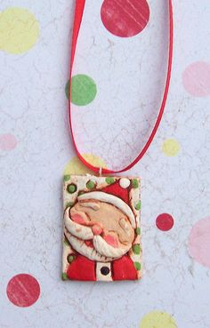 *PAPER CLAY ~ So Happy Santa Pendant by thepolkadotpixie, via Flickr