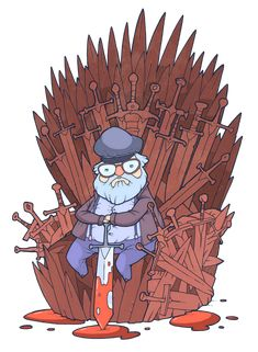 He sits on a thrones of swords... one for each character he has killed. (George R. R. Martin by Evgeny Yakovlev)
