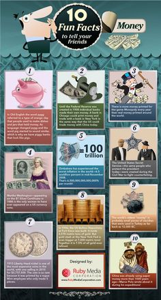 Infographic - 10 Fun Facts About Money.  This infographic shows us some interesting facts about money that you may not have known before.