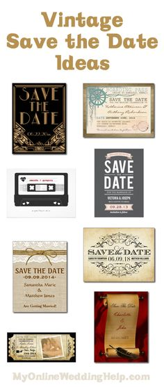 Vintage save the date card and wedding invitation ideas ... links to a ton of ideas for eight different styles / 'looks'. | http://invitations.myonlineweddinghelp.com