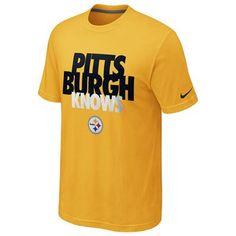 """Pittsburgh Steelers Nike """"Pittsburgh Knows"""" T-Shirt (Yellow) http://pinterest.com/hamptoninnmonro/ #hamptoninnmonroeville http://www.facebook.com/#!/HamptonInnMonroeville #pittsburghhotel"""