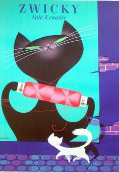 cats, vintage posters, graphic, vintag poster, zwicki