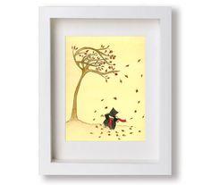 Windy Day watercolor and ink illustration children's by StudioKWN fall leaves, ink illustr, illustr children, etsi street, earth tones, illustra favol, autumn falls, street team, red black