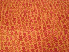 upholsteri fabric, skulls, crossbon fabric, orang skull, hunting, oranges, yard orang, yards, 1yd orang