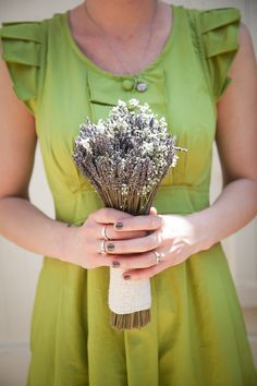 Green bridesmaid with lavender bouquet ...  #French #Country #Wedding … Wedding #ideas for brides, grooms, parents & planners https://itunes.apple.com/us/app/the-gold-wedding-planner/id498112599?ls=1=8 … plus how to organise an entire wedding, within ANY budget ♥ The Gold Wedding Planner iPhone #App ♥ For more inspiration http://pinterest.com/groomsandbrides/boards/ #rustic #toile #plaids #vintage #wicker #lavender #ceremony #reception