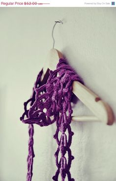 Magenta Crochet Lace Cotton Scarf