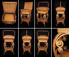 Heyward Brothers Wakefield Co. Wicker Floor Standing Sewing Basket; Circa 1900