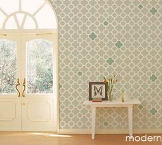 I like the pattern and the random filled in ones. Bathroom?  Reusable Wall Stencils | andRuby