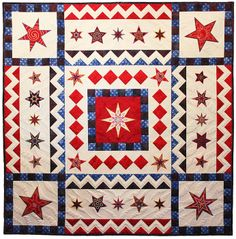 """Star of Devin"" embroidered quilt, an online class with Sarah Vedeler as seen at Quiltique"