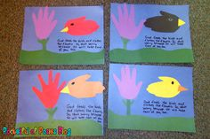 Albert - handprint flower & bird craft to go along with Bible verse (another bird Bible craft & lesson about Elijah feeding the birds and God taking care of our needs: http://www.daniellesplace.com/html/rrsampleelijahraven.html)