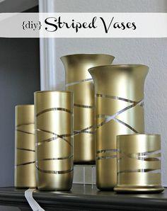 diy striped vases