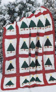 Christmas Afghan Crochet Pattern - Christmas Trees