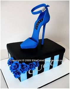 Blue Gucci Stiletto Birthday Cake