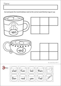 Worksheets & Activities - Winter (Beginning Skills). A page from the unit: Word Family Sort: sort the marshmallow words and pictures to the correct word family hot chocolate mug or cup.
