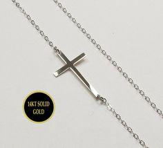 Kelly Ripa 14KT WHITE GOLD Sideways Cross Necklace by gemsinvogue, $140.00