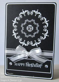 handmade birthday card ... black and white ... Daydream Medallions ... luv the symmetrical placement of all the elments ... drama with black base and white ink, ribbon and accents ... Stampin'Up! handmade birthday cards, ribbon
