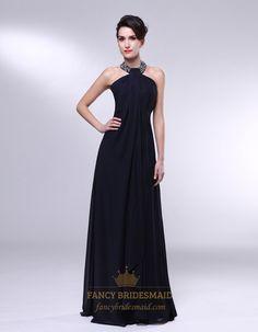 High Neck Chiffon Prom Dress, Black Chiffon Encrusted Halter Empire Waist Prom Dress, Long Black Chiffon Halter Dress, Halter Chiffon A-Line...