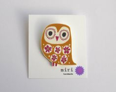Owl Brooch Pin in Mustard Yellow and Cerise Pink by miristudio