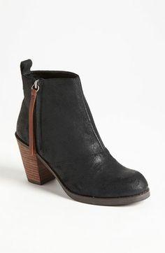 black stacked heel ankle booties