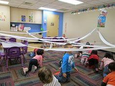 """Gross Motor Activity, """"Sneaking Through a Snow Storm"""" (from Mrs. Karen's Preschool Ideas)"""