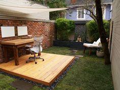 garden office, office spaces, outdoor office, backyard office, backyard oasis, zen gardens, deck, home offices, workspac