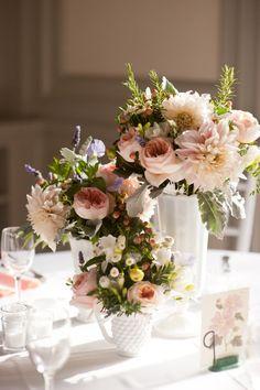 milk glass floral centerpieces.